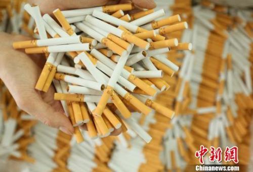 资料图:警方查获的假冒伪劣卷烟。 警方供图